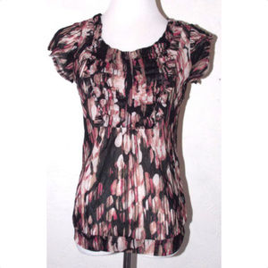 The Limited Small Top Abstract Sheer Ruffles Pink